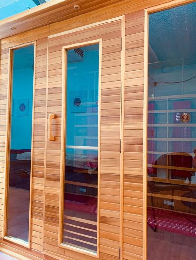 sauna doors at steamboat hot springs